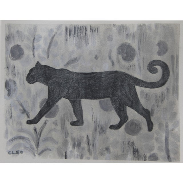 2020s Chinoiserie Panther Leopard Gray Painting by Cleo PLowden For Sale - Image 5 of 5