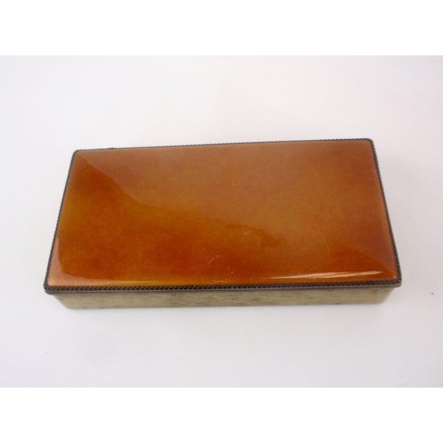 Evans Blaze Orange Enamel Cigarette Trinket Box - Image 2 of 5
