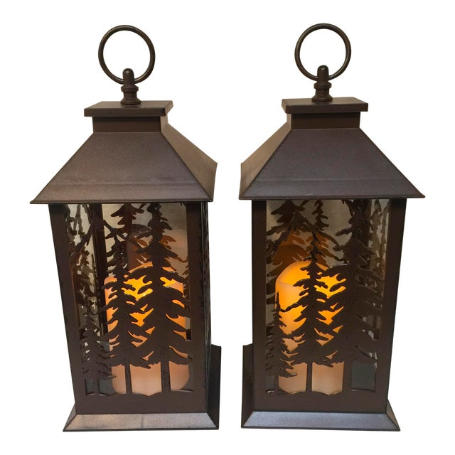 Metal & Glass Forest Silhouette Lanterns - A Pair - Image 1 of 10