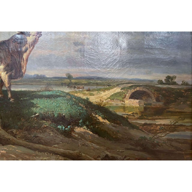 19th Century French Oil on Canvas Cow Painting in Carved Gilt Frame For Sale - Image 4 of 13