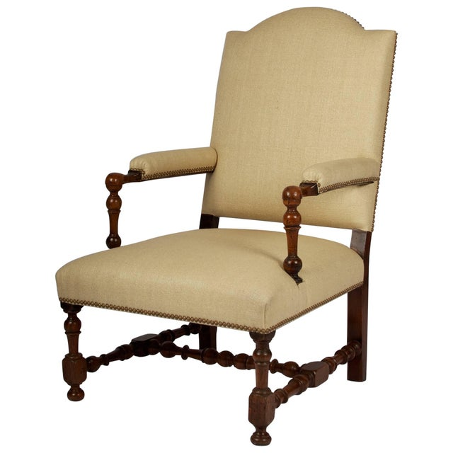 17th Century Louis XIII Armchair, Restored and Newly Upholstered For Sale - Image 11 of 11