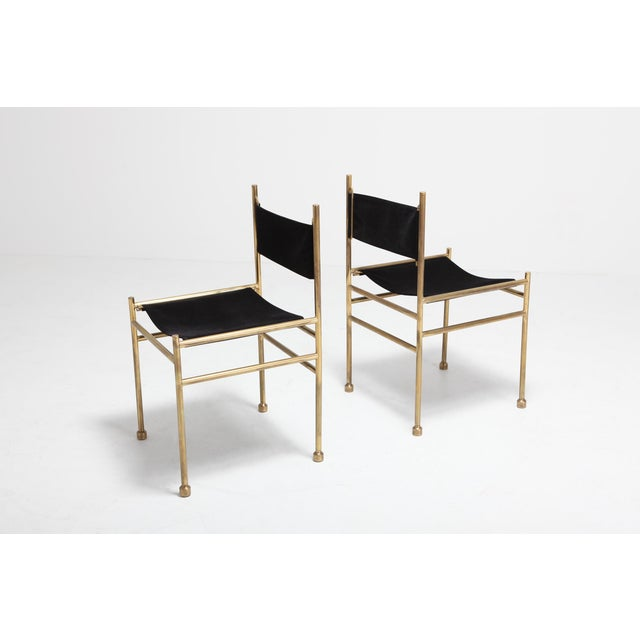 Wondrous Brass And Black Velvet Dining Chairs By Luciano Frigerio Beatyapartments Chair Design Images Beatyapartmentscom