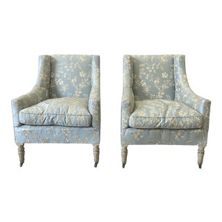 Italian Upholstered Arm Chairs - Early 20th C - a Pair For Sale
