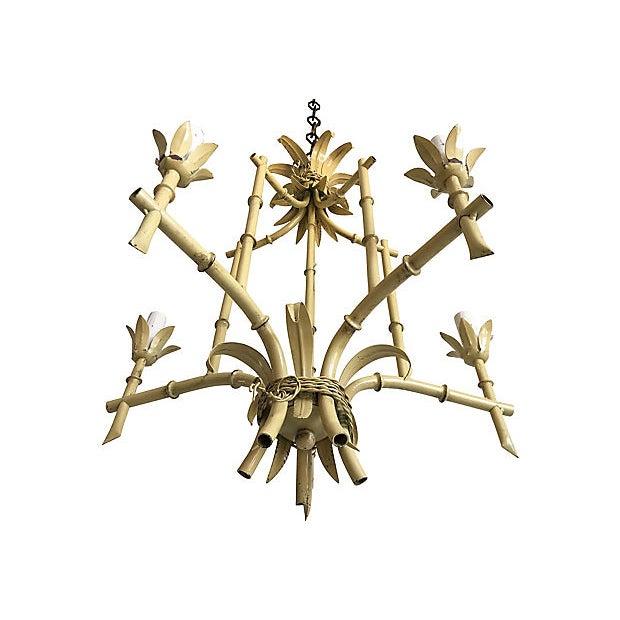 Metal 1950s Italian Bamboo Pagoda Chandelier For Sale - Image 7 of 12