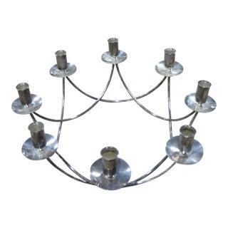 Vintage E. Dragsted Denmark Circular 8 Candle Silver Candelabra For Sale