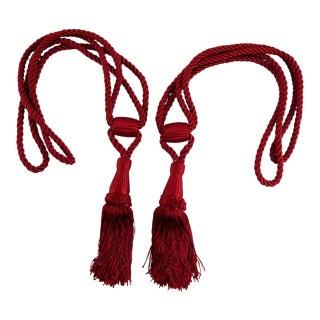 Vintage Burgundy Tasseled Curtain Tie Backs - a Pair For Sale