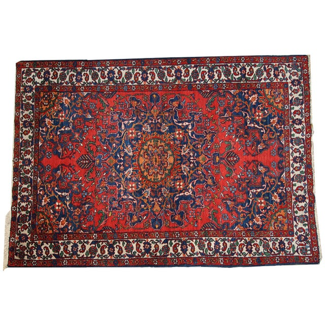1970s Hand Made Vintage Persian Mashad Rug - 4′7″ × 6′4″ For Sale - Image 9 of 10