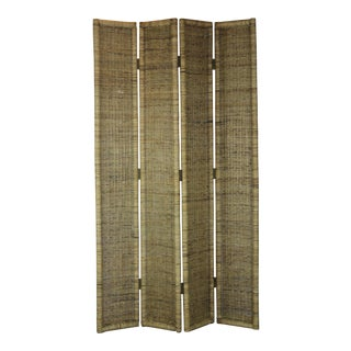 Vintage 4-Panel Rattan Screen For Sale