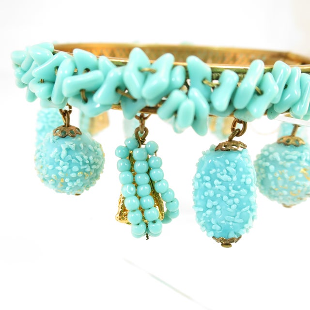 1950s Miriam Haskell Turquoise Beaded Bangle Bracelet 1950s For Sale - Image 5 of 8