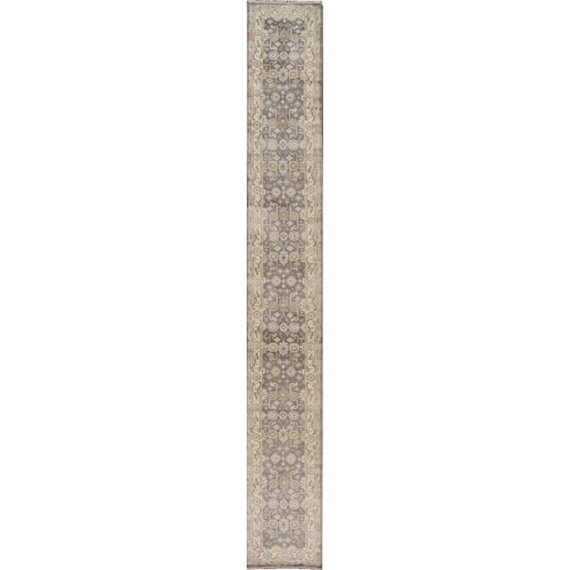 """Gray Apadana - 21st Century Oushak Style Rug, 2'7"""" x 19'9"""" For Sale - Image 8 of 8"""