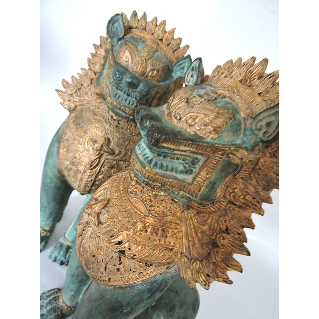 Mid 20th Century Thai Singha Temple Guardians/Dragons - a Pair For Sale - Image 5 of 9
