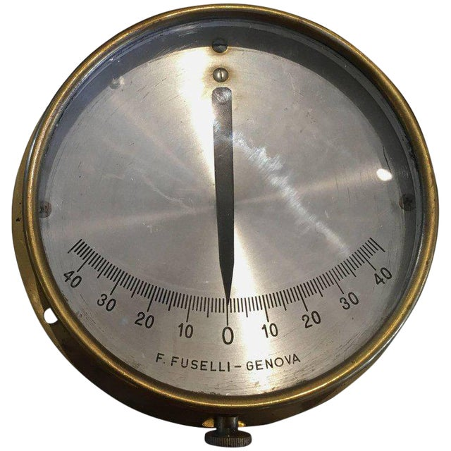 Italian Midcentury Brass Ship's Clinometer For Sale
