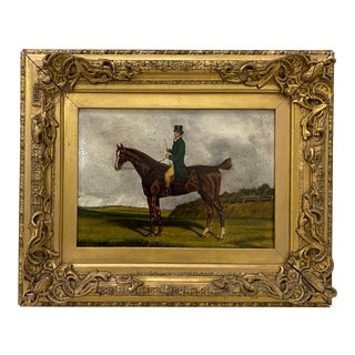 Antique Equestrian Rider Oil Painting C.1900 For Sale