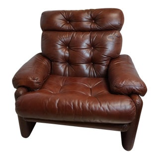 Luxe Leather Afra & Tobia Scarpa for B&B Italia Coronado Lounge Chair For Sale