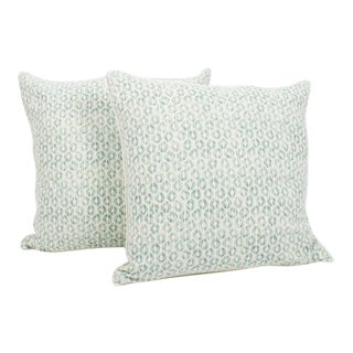 Seafoam Linen Ogee Blocked Pillows, a Pair For Sale