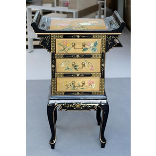 Vintage Chinoiserie Black Lacquer and Gold Hand-Painted Occasional Chest Preview