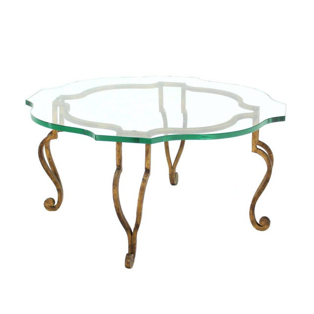 Round Figural Wrought Iron Base Coffee Table with Thick Glass Top For Sale - Image 4 of 5