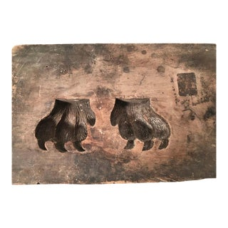 19th Century Carved Wood Bear Claw Mold For Sale