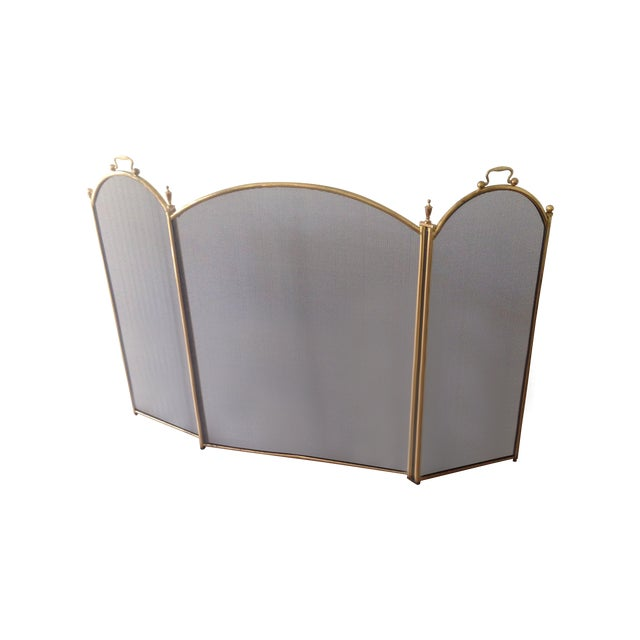 Vintage 1970's Brass Fireplace Screen - Image 1 of 3