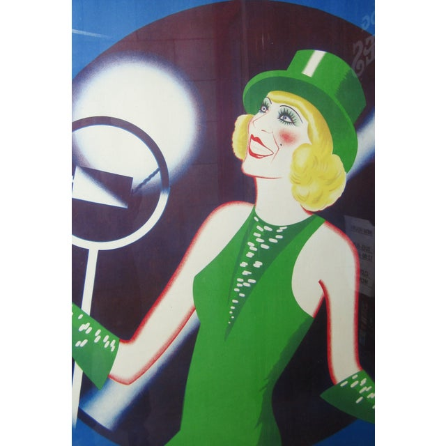 """1930s French Art Deco Original Lithograph Poster """"La Houppa"""" French Actor & Songstress Radio Star 1930s Showgirl Figural Large Format Poster in Frame For Sale - Image 4 of 12"""