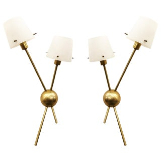 Stilnovo Brass Wall Lights With Glass Shades - a Pair For Sale
