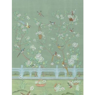 "Casa Cosima Green Indra Diptych Wallpaper Mural - 2 Panels 72"" W X 96"" H For Sale"