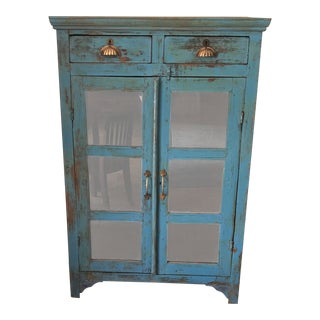 Vintage Rustic Turquoise Hutch