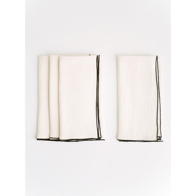 Modern Cathedral with Black Trim Linen Napkin - Set of 6 For Sale - Image 3 of 3