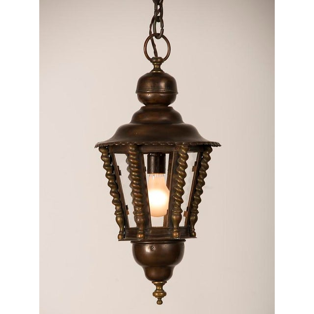 French 1920s Vintage Hexagonal Handsome Brass French Lantern For Sale - Image 3 of 7