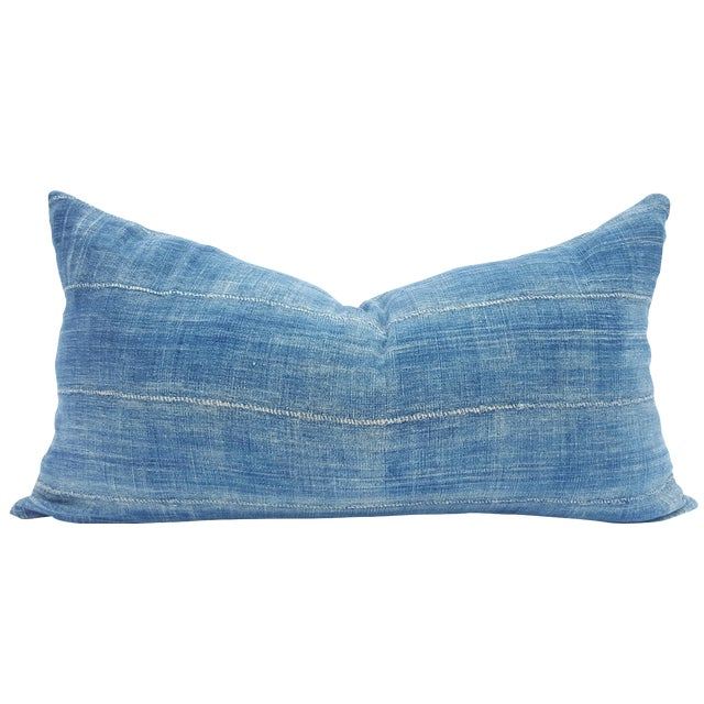 Denim Blue Mud Cloth Lumbar Pillow Cover For Sale