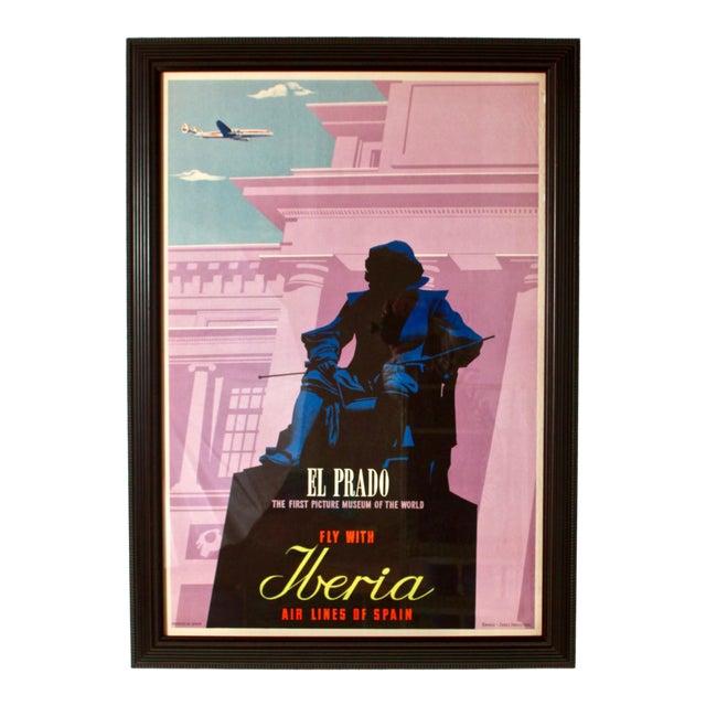 1950s Vintage Iberia Airlines Framed Travel Poster For Sale