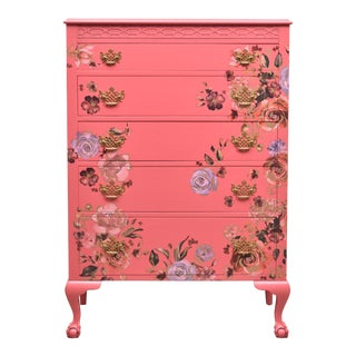 1950s Cottage Johnson Furniture Co Coral Pink Floral Dresser For Sale