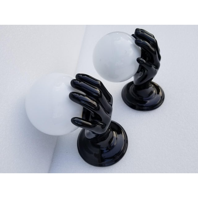 """Mid-Century Modern Ceramic Hand Sconces by """"Le Trefle"""" - 2 Pairs Available For Sale - Image 3 of 13"""