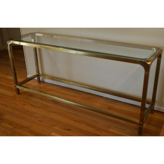 Mastercraft Hollywood Regency Brass Console/Sofa Table - Image 5 of 7