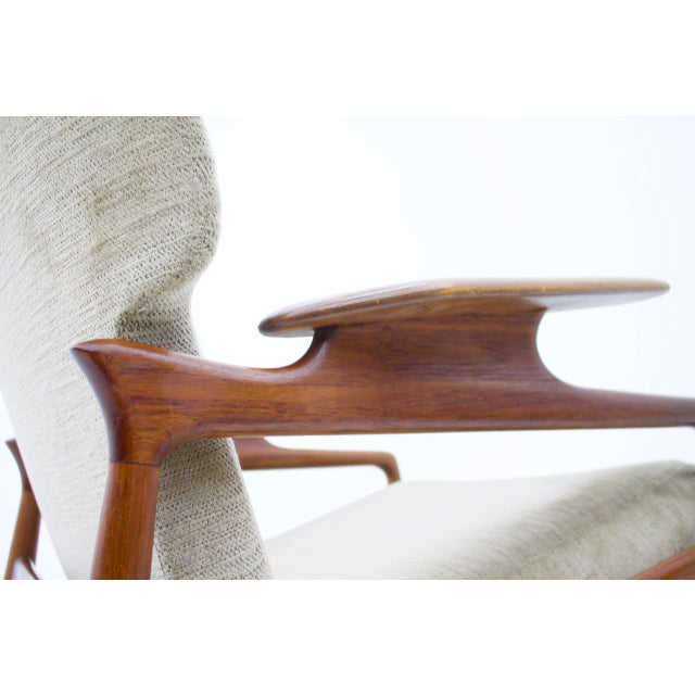 1960s Pair of Reclining Teak Lounge Chairs by John Boné, Denmark 1960s For Sale - Image 5 of 11