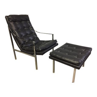 Chrome and Vinyl Lounge Chair & Ottoman - A Pair