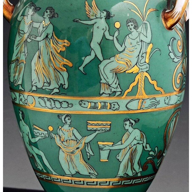 Davenport English Porcelain Neoclassical Jade Green-Ground Vases - a Pair For Sale - Image 4 of 8