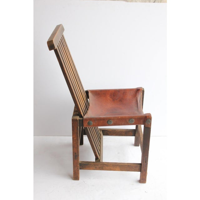 Antique Leather and Oak Accent Chair - Image 3 of 5