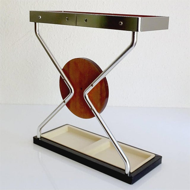 Vintage Danish Midcentury Umbrella Stand in Aluminum and Teak Wood 1960s in Modernist Panton Style For Sale - Image 9 of 10