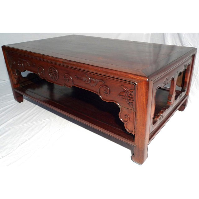 Early 20th Century Chinese Carved Rosewood Long Low Opium Coffee Table For Sale - Image 13 of 13