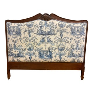 Queen Size Mahogany Wood Headboard + Toile Upholstery For Sale