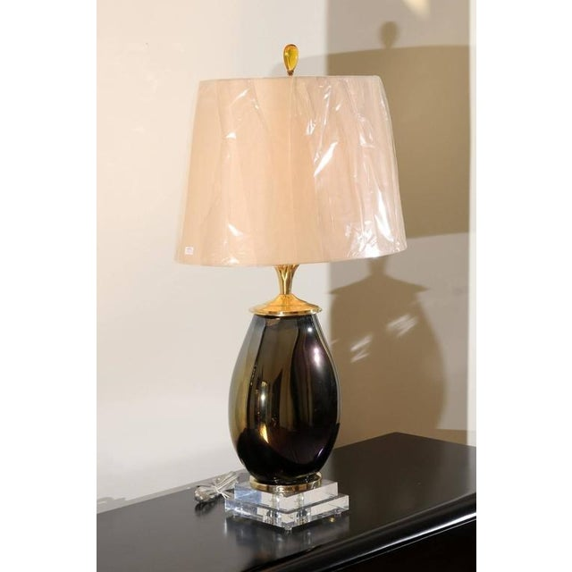 Mid-Century Modern Mesmerizing Pair of Iridescent Blown Glass Lamps with Brass and Lucite Accents For Sale - Image 3 of 11