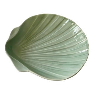 1960s A. Santos. PortugalSage Green Shell Pottery Dish