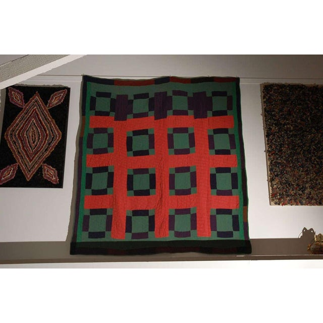 Early 20thc Amish Nine Patch Wool Quilt From Pennsylvania - Image 8 of 9