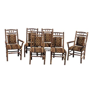 1990s Old Hickory Wagon Wheel Dining Chairs Set of Six For Sale