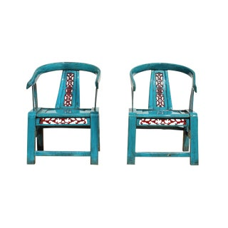 Pair Small Blue Lacquer Oriental Horse Shoe Curve Shape Accent Fusion Chairs