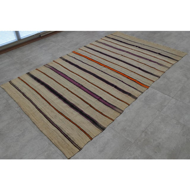Vintage Natural Turkish Wool Stripe Kilim Rug - 4′6″ × 7′8″ - Image 4 of 9