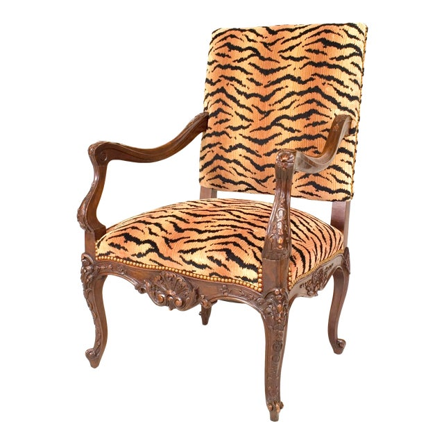 French Regence Faux Tiger Arm Chair For Sale