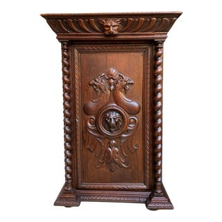 19th Century French Confiturier Jam Cabinet Carved Oak Barley Twist Louis XIV For Sale