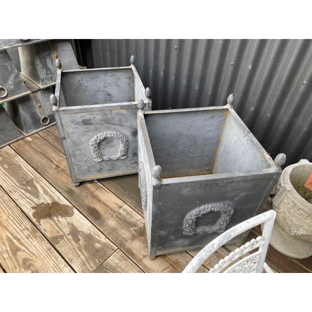 Traditional Steel Planters - a Pair For Sale - Image 3 of 11